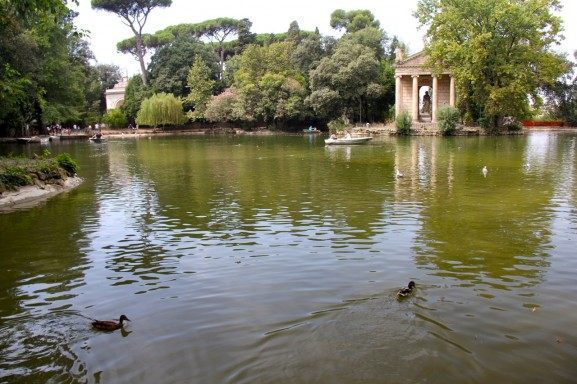 "The 19th century ""Temple of Aesculapius"" in the Borghese gardens"