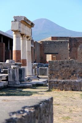 Pompeii ruins, with naughty Mount Vesuvius still looking across