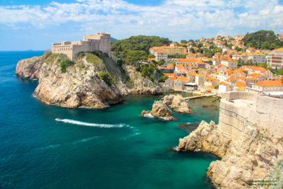 Beautiful azure water around Lovrjenac fortress, Dubrovnik, Croatia