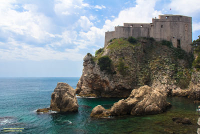 Lovrjenac fortress and the amazing coastline and azure water around Dubrovnik, Croatia