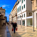 Shopping along Marmontova Street, Split, Croatia
