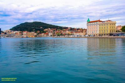 Split, Croatia, across the harbour toward Marjan.