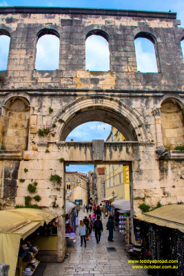 The east gate into Diocletian's Palace, old town, Split, Croatia
