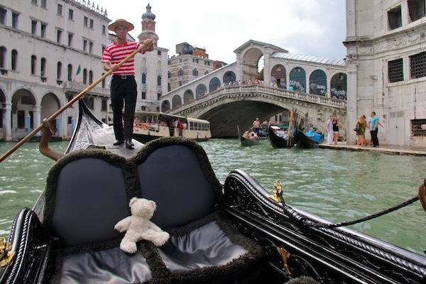 Teddy takes a gondola ride