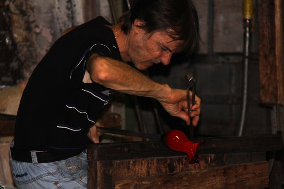 One of the master glass blowers in Murano