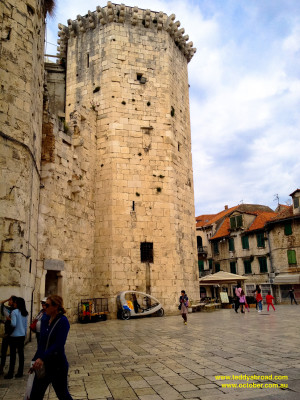 By the main south entrance to Diocletian's Palace, old town, Split, Croatia
