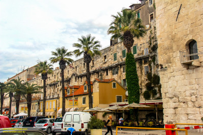 Split, Croatia - the south-east corner of Diocletian's Palace, old town.